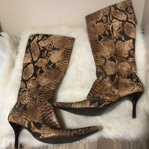 Snakeskin knee boots